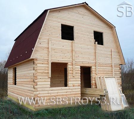 Строительство дома из бруса с мансардой. Размер: 6х8 м.