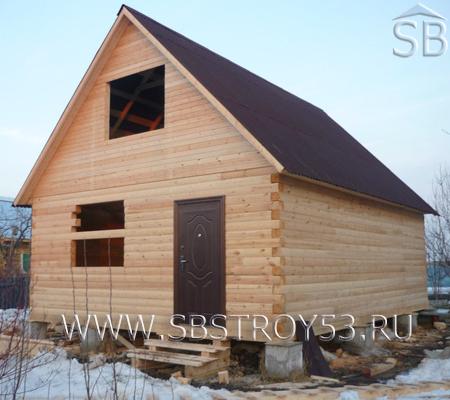 Строительство деревянного дома в два этажа. Размер: 6х6 м.