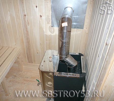 Печь высокого качества в бане из бруса 6х8 м.