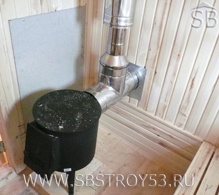 Печь в бане из бруса 6х5 м.