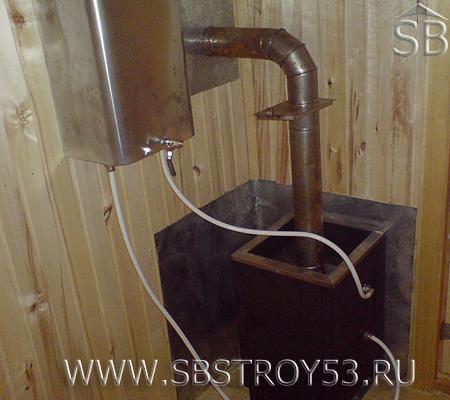 Дровяная печь в бане из бруса 6х7 м.
