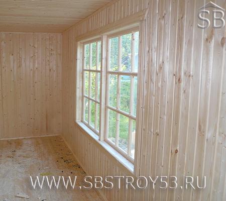 Внутренние стены щитового дома. Размер дома: 6х6 м.