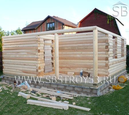 Строительство двухэтажной бани из бруса. Размер: 6х6 м.