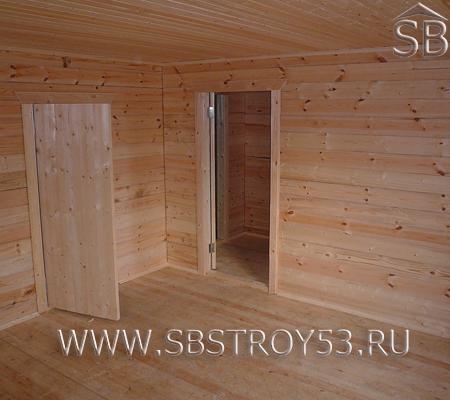Внутренние двери брусового дома 7х9 м.