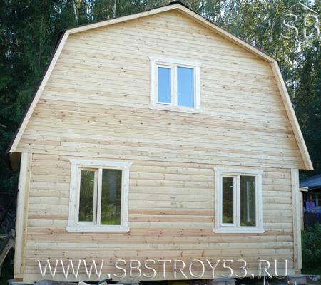 Дом из бруса двухэтажный. Размер дома: 6х6 м.