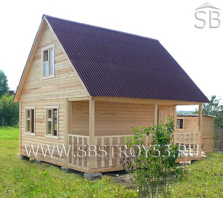 Дом из бруса 6х6 м с террасой 2х6 м.