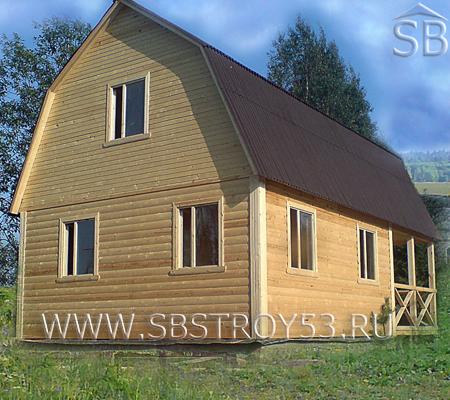 Дом из бруса. Размер дома: 6х9 м. Размер террасы: 3х6 м.