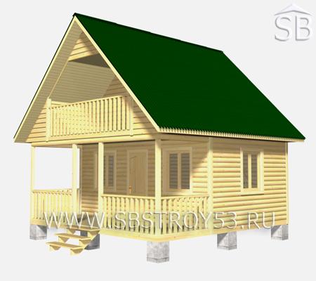Проект деревянного дома 6х6 (D-19)