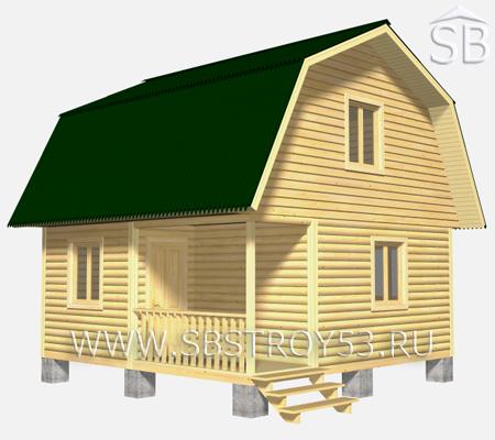 Проект деревянного дома 6х6 (D-4)