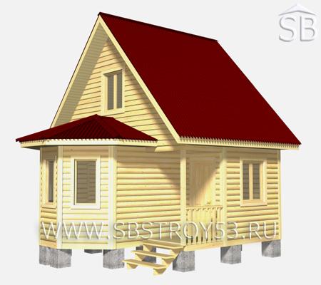 Проект деревянного дома 6х6 (D-6)