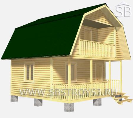 Проект деревянного дома 6х6 (D-7)
