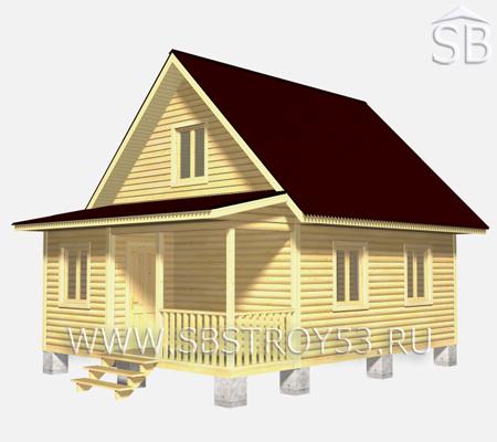 Проект деревянного дома 6х8 (D-18)