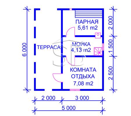 Брусовая баня 6х5 (P-24)
