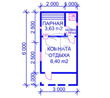 Брусовая баня 3х6 (P-25)