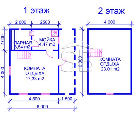 Брусовая баня 6х6 (P-26)