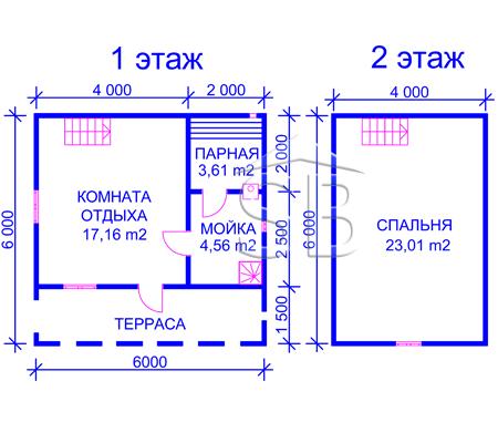 Брусовая баня 6х6 (P-27)