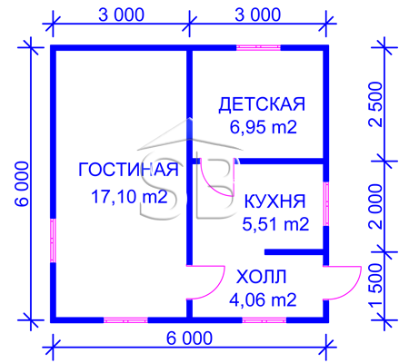 Каркасно-щитовой дом 6х6 (P-13)