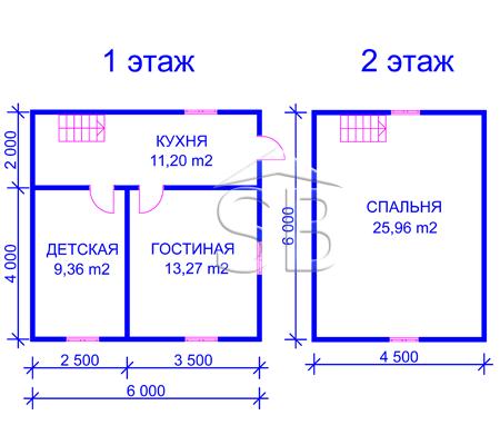 Брусовой дом 6х6 (P-30)