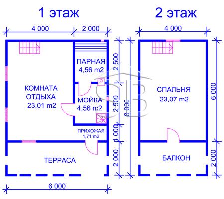 Брусовая баня 6х8 (P-33)
