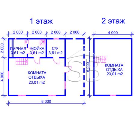 Брусовая баня 6х8 (P-34)