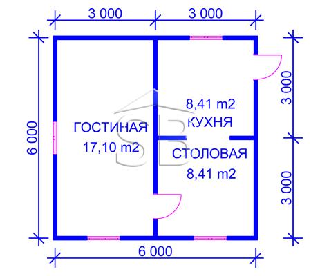 Каркасно-щитовой дом 6х6 (P-32)