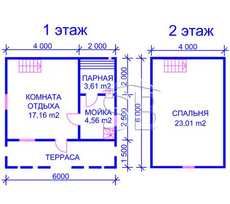 Брусовая баня 6х6 (P-15)
