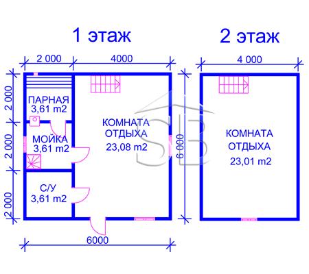 Брусовая баня 6х6 (P-17)