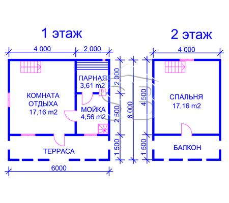 Брусовая баня 6х6 (P-18)