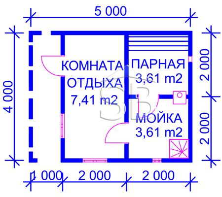 Брусовая баня 4х5 (P-19)