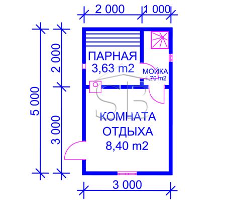 Брусовая баня 5х3 (P-20)