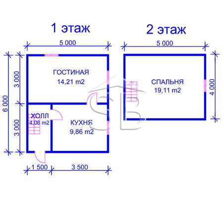 Брусовой дом 6х5 (P-3)