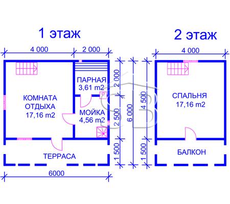 Брусовая баня 6х6 (P-21)