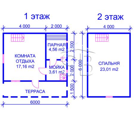 Брусовая баня 6х6 (P-23)