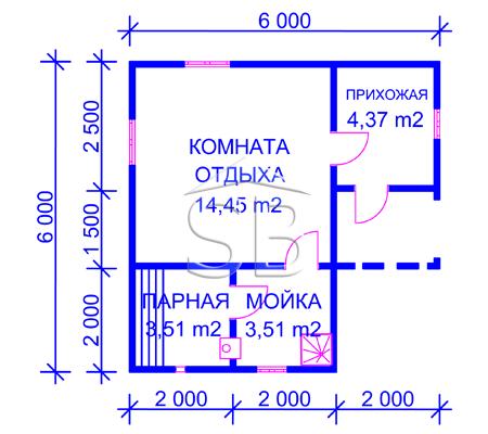 Проект брусовой бани 6х6 (В-23)