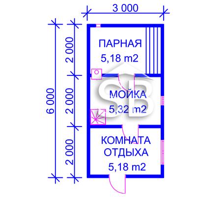 Проект брусовой бани 3х6 (B-1)