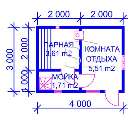 Проект брусовой бани 3х4 (B-2)