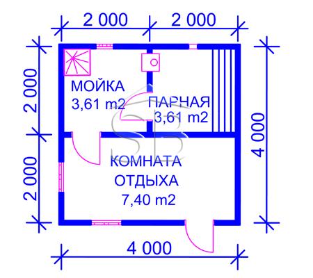 Проект брусовой бани 4х4 (B-3)