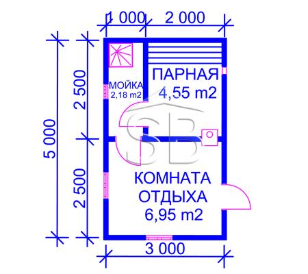 Проект брусовой бани 3х5 (B-4)