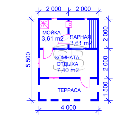 Проект брусовой бани 4х5.5 (B-5)