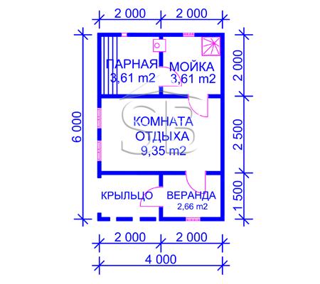 Проект брусовой бани 4х6 (B-6)
