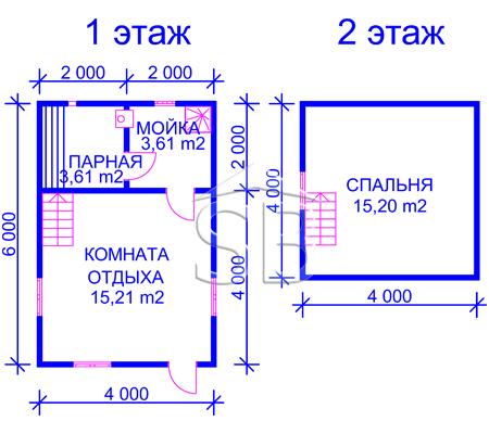 Проект брусовой бани 6х4 (B-11)