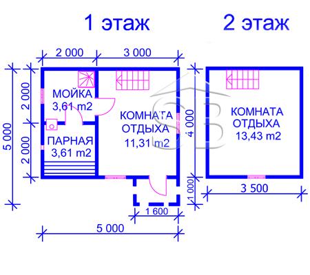 Проект брусовой бани 5х4 (B-12)