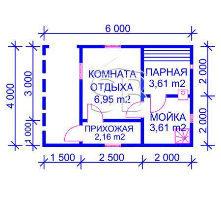 Проект брусовой бани 4х6 (B-7)