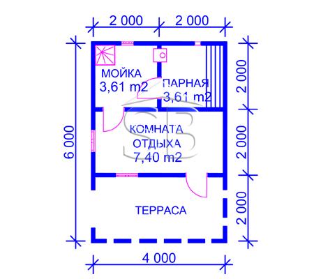 Проект брусовой бани 4х6 (B-8)