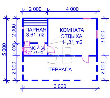 Проект брусовой бани 5х6 (B-9)