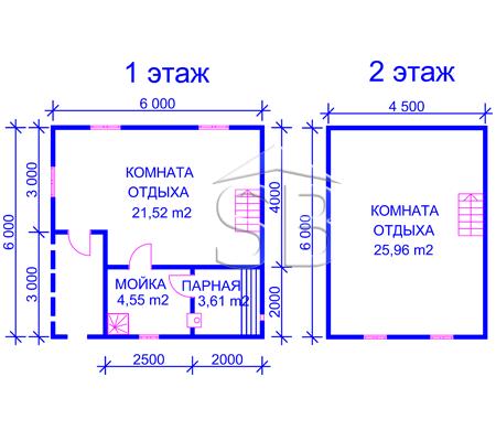 Проект брусовой бани 6х6 (B-13)