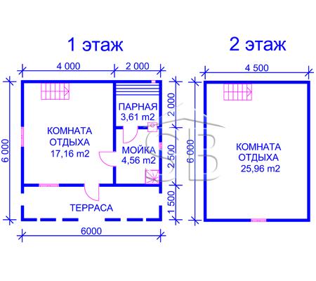 Брусовая баня 6х6 (P-29)