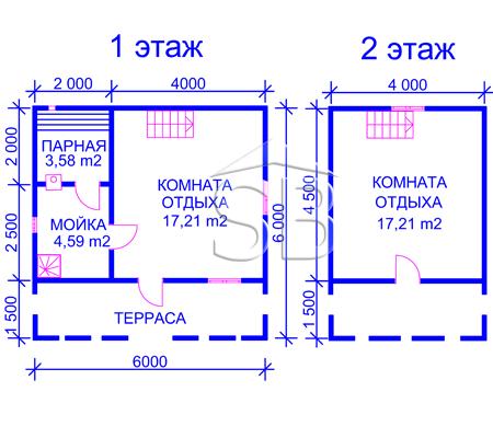 Проект брусовой бани 6х6 (B-10)