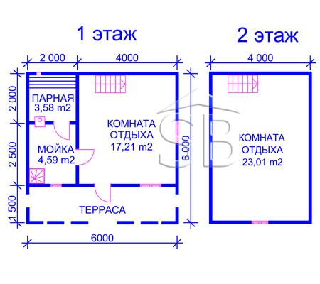 Проект брусовой бани 6х6 (B-14)