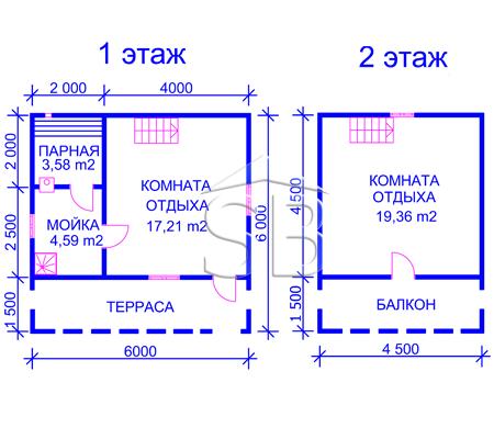 Проект брусовой бани 6х6 (B-15)